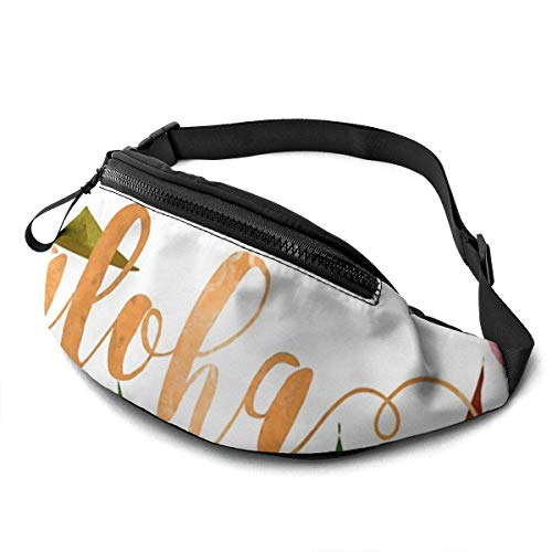 Corner Time Small Artificial Flowers Unisex Casual Waist Bag Hawaiian Tropical Floral Aloha Watercolor Fanny Pack Money Bum Bag with Adjustable Belt for Running Sports Climbing Travel