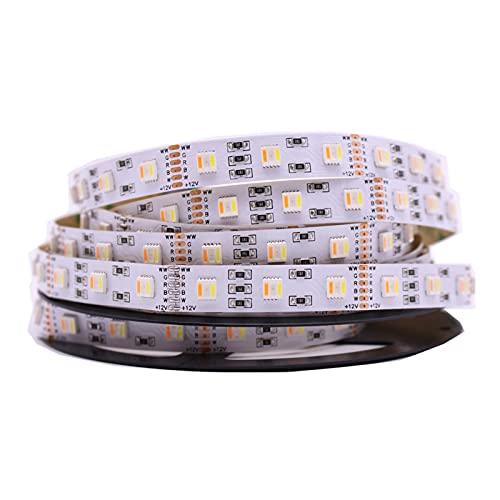 MEILIJIE XIAOXU MIN Los recién llegados RGB + CCT LED Strip 5050 60led / Metro 12V / 24VOLT 5 en 1 Chips LED CW + RGB + WW Tira Flexible Blanco Tarjeta DE Circuito Impreso