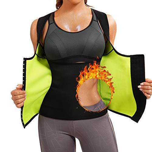 Scarboro Hot Neoprene Sauna Waist Trainer Vest for Women Workout Sweat Body Shaper Slim Corset Zipper Tank Tops Sauna Suit Weight Loss Black XLarge