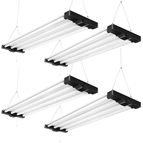 4 Pack Linkable Shop Lights for Workshop 80W Utility Shop Lights 4FT Plug in, FaithSail 4 Lamp 5000K 9000lm Low Bay Light, 250W Fluorescent Equivalent, 4 Foot led Light with Pull Chain