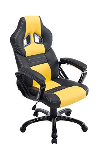 CLP Poltrona Gaming Ufficio Pedro XL I Sedia Racing Imbottita In Similpelle I Poltrona Sport Reclinabile, Colore:nero/giallo