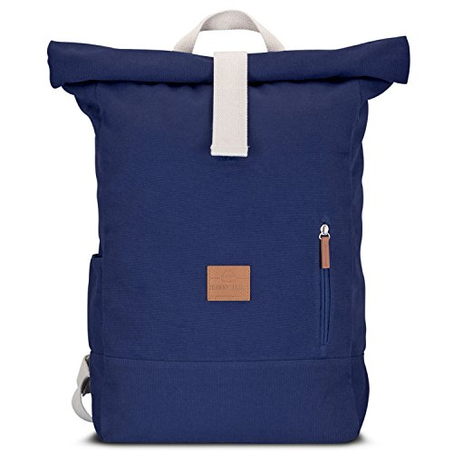 Rolltop Rucksack Damen & Herren Blau ADAM - JOHNNY URBAN Roll Top Backpack aus Baumwoll Canvas - Lässige Rucksäcke für Alltag, Uni, Reisen & Schule - Wasserabweisend & sehr flexibel