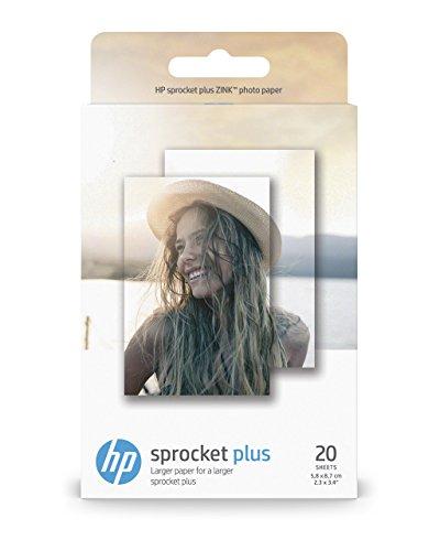 HP 2LY72A Sprocket Plus Photo Paper per Stampe di Elevato Effetto, Confezione da 20 Fogli Originali, Lucidi e Adesivi, 5.8 x 8.7 cm, Grammatura 258 g/m², Bianca