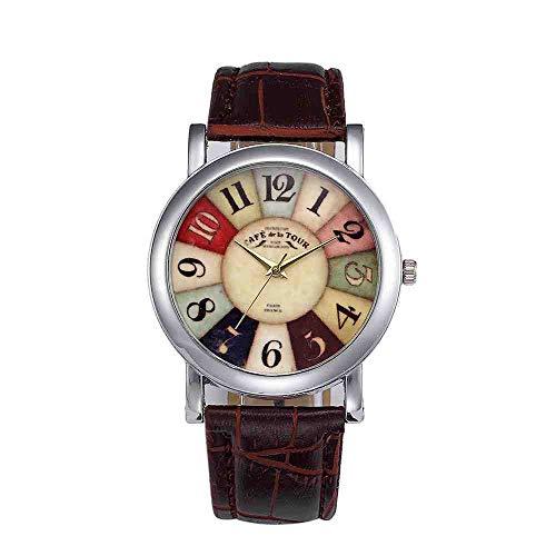 DSNGZ Reloj de Pulsera Harajuku Graffiti Pattern Watch Mujeres Hombres Vogue Correa de Cuero Reloj de Cuarzo analógico Señoras Retro Divertido Digitals Dial Relojes y FF