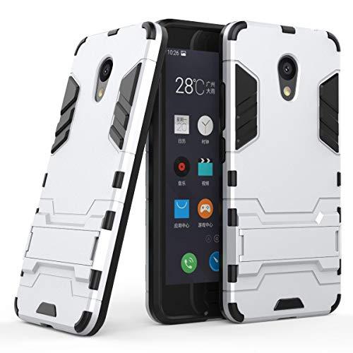 tinyue® Handyhülle für Meizu M5C, Hülle 2 in 1 Material Harte Schwer doppelte kratzfester Handyfall im Freienhandyfall Iron Man Rüstung mit Kickstand Hülle, Silber