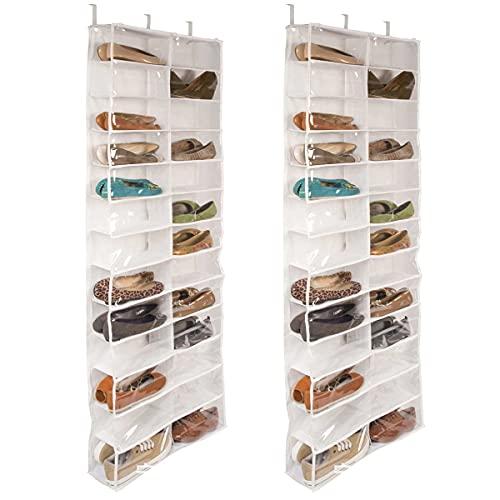 Organizador de Zapatos Colgante 26 Transparente Bolsillos Almacenamiento Zapatero de Puerta Tela No Tejida Armario con 6 Ganchos para Cocina Dormitorio Baño,Blanco