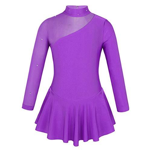 inhzoy Maillot de Patinaje Artístico para Niña Manga Larga Vestido de Ballet Danza Leotardo Body de Gimnasia Rítmica Disfraz de Bailarina Ropa Deporte Morado 8 Años
