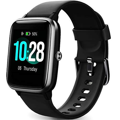 Smart Watch Fitness Tracker bransoletka fitness z częstotliwością serca, SmartWatch IP68, wodoszczelny zegarek fitness, pełny ekran dotykowy, z funkcją sterowania muzyką, monitor snu, zegarki dla kobiet, mężczyzn, dzieci (All-Black)