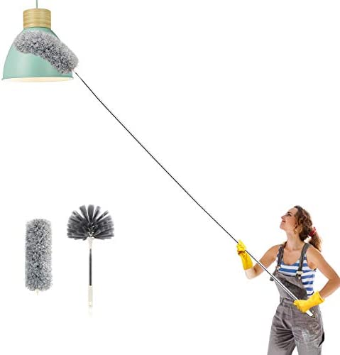 Telescoping Microfiber Duster Extendable Cobweb Duster High Ceiling Stainless Steel Long Dusters product image