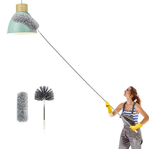 Abealv Telescoping Microfiber Duster Extendable Cobweb Duster, High Ceiling Stainless Steel Long Dusters,Scratch-Resistant Bendable Duster, 100 inches Extension Pole Cleaning Tools (Dark Gray)