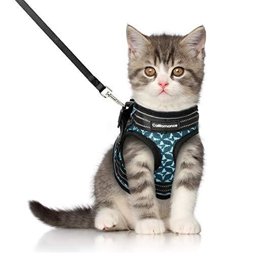 CatRomance Katzengeschirr mit Leine weich verstellbar Geschirr für Katzen, Ausbruchsicher Welpengeschirr mit reflektierenden Streifen, Brustgeschirr Katzen Weste für Kitten Welpen & kleine Hunde S