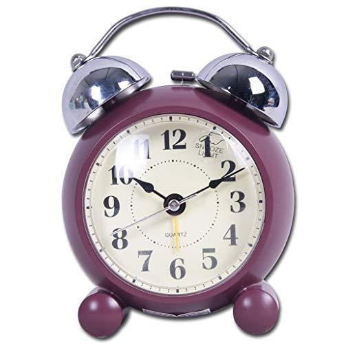 Luz nocturna analógica Reloj despertador silencios Material de resina simple Reloj despertador Puntero Silencio Deportes y luz nocturna Sonido fuerte Reloj despertador redondo Reloj ruidoso fácil de c