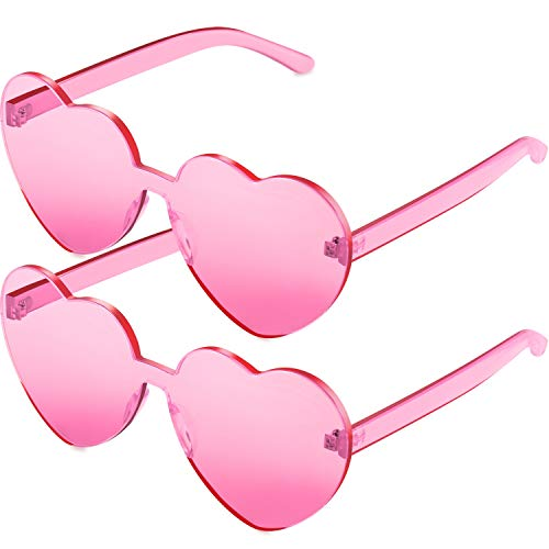 2 Pieces Heart Shape Rimless Sunglasses Transparent Candy Color Frameless Glasses Love Eyewear...
