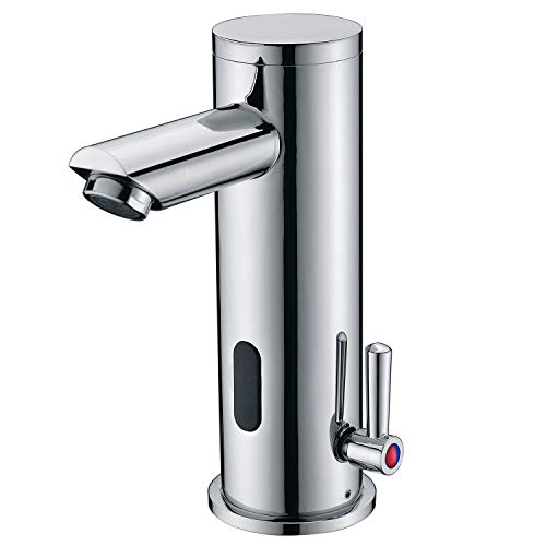 Fyeer Automatic Electronic Sensor Touchless Faucet, Motion Activated Hands-Free Bathroom Vessel Sink Tap, Temperature Adjustable knob, Hot and Cold Mixer, Chrome Polished Finish