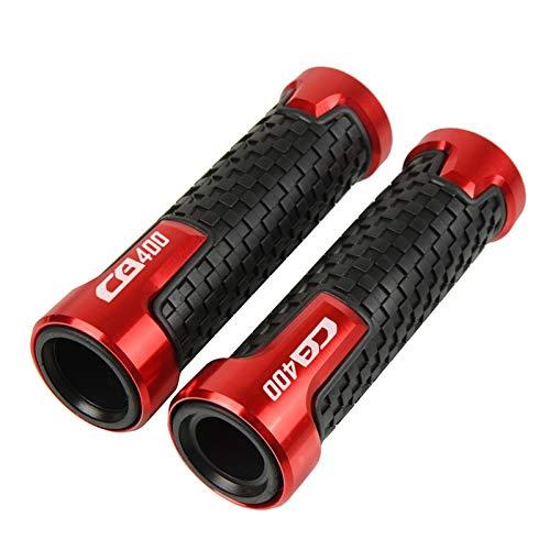 Para Hon & da CB400 CB 400 1992 1993 1994 1995 1996 19997 1998 Accesorios de motocicleta 7/8 22 MM Mango Grip Agarraderas con logo CNC manillar (Color: Rojo)