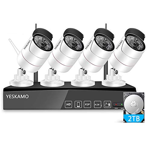YESKAMO Überwachungskamera Aussen WLAN Set 3MP 8 Kanal NVR Recorder Überwachungssystem mit 4 x HD Kabellos IP Kameras Set 2TB Festplatte H.265 für die Aufnahme, 30M IR Nachtsicht, Bewegungserkennung
