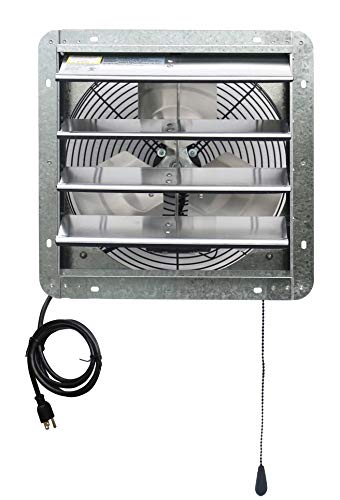 Iliving 14' Wall Mounted Exhaust Thermostat Control-Automatic Shutter-Variable Speed Vent Fan for Home Attic, Shed, or Garage Ventilation, 850 CFM, 1300 SQF Coverage Area, Silver
