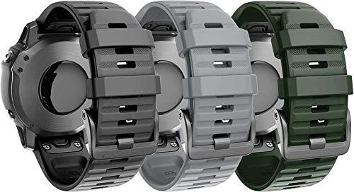Classicase Compatible con Garmin Fenix 5 / Fenix 5 Plus/Fenix 6 / Fenix 6 Pro/Quatix 5 Correa de Reloj, Banda de Reemplazo Silicona Suave Sports Pulsera (3-Pack I)