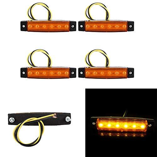 4X 6 LED Seitenleuchten Indikator Seitenmarkierungsleuchten Trailer Indikatoren Lichter Seitenmarkierungsleuchte 12V für LKW Bus (Gelb)