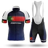 WOLFIRE WF Traje de Ciclismo para Hombre de Equipos. Culotte y Maillot. con 5D Gel Pad. para MTB, Spinning, Bicicleta de Carretera (Portugal 2, 3XL)