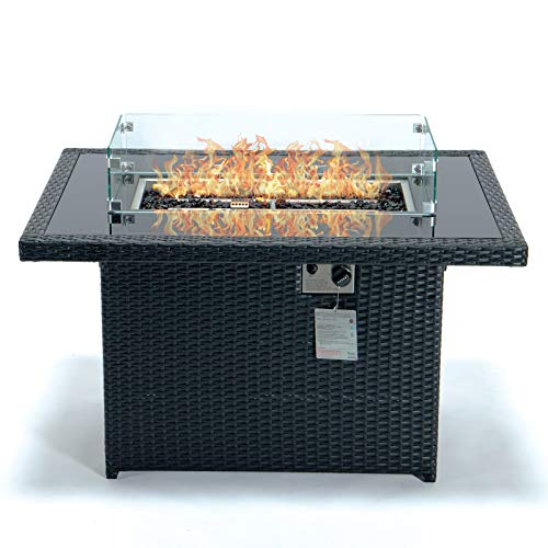 LeisureMod Mace Wicker Propane Fire Pit 44 Inch 50,000 BTU Auto-Ignition Gas Fire Pit Table with lid, Wind Guard and Decorative Stones