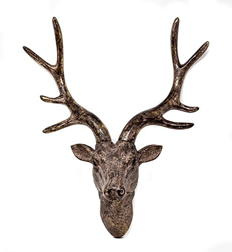 YGL 42cm Stag Deer Head Sculpture Wall Decoration Made From Resin With Bronze Finish (Bronze)
