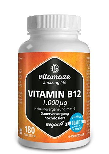 Vitamin B12 hochdosiert Methylcobalamin 1000 µg 180 Tabletten vegan 6 Monatsvorrat Qualitätsprodukt-Made-in-Germany ohne Magnesiumstearat