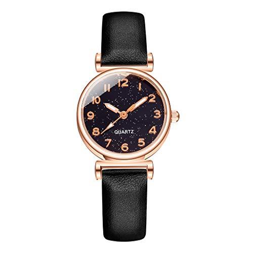Fenverk Damen Uhr Analog Quarz Armbanduhr, Damenuhren Mit Blau Sternenhimmel-Zifferblatt FüR Frauen,Frauen Geschenk,Uhr Rosegold Damen(A)