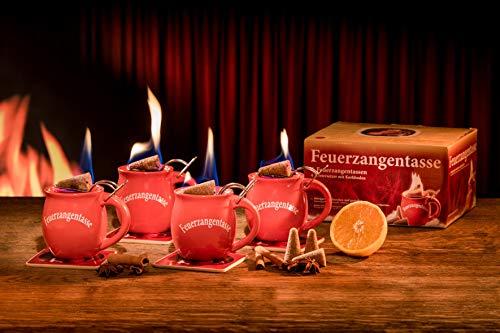 Feuerzangentasse 4er-Set, Terracotta, mit Rum - für Feuerzangenbowle