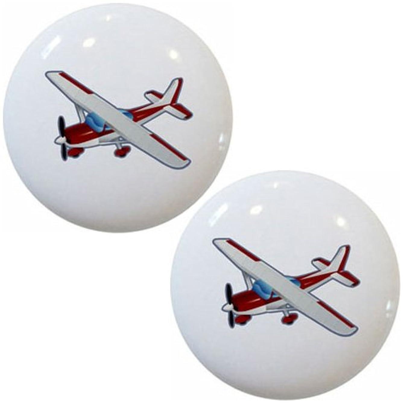 Red Airplane Aviation Ceramic Cabinet Drawer Pulls Knobs (Set of 2 Knobs)
