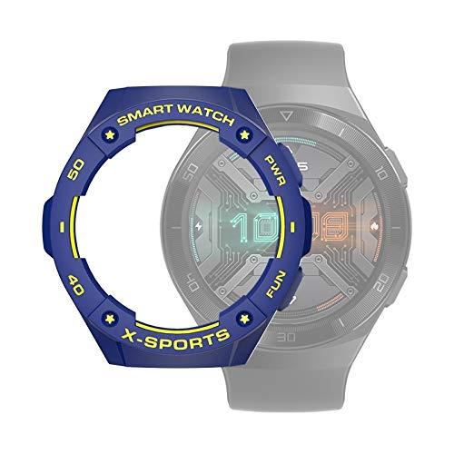 Cellphoneparts BZN Smart Watch Case per Huawei Watch GT2E Smart Watch Custodia Protettiva in TPU, Colore: Blu + Giallo