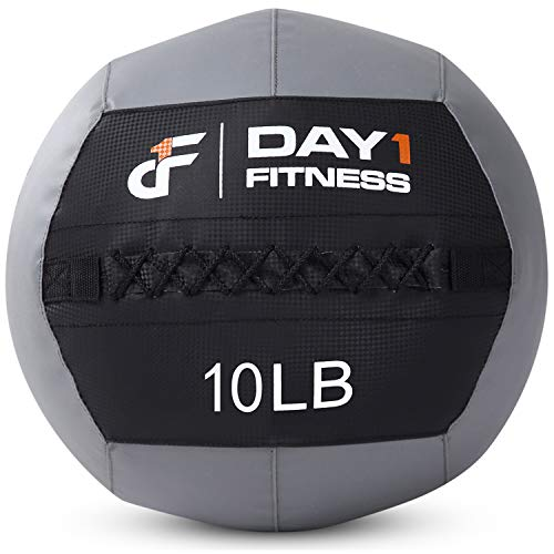 Day 1 Fitness Soft Wall Medicine Ball 18 Pounds - for Exercise, Rehab, Core Strength, Large Durable Balls for Floor Exercises, Stretching