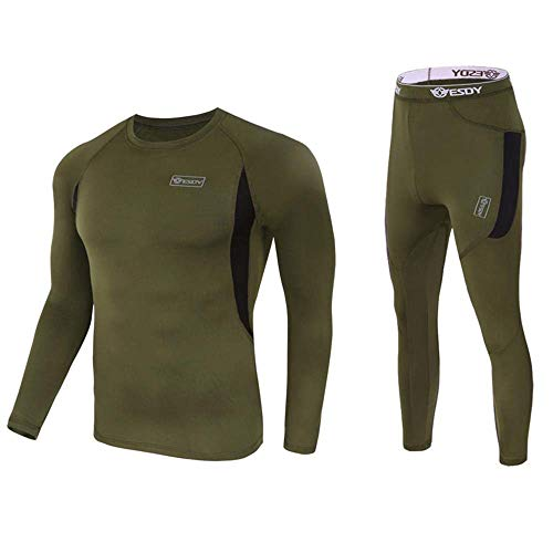 Thermal Underwear Set for Men, Sport Top Bottoms Thermo Base Layer for Winter Army Green