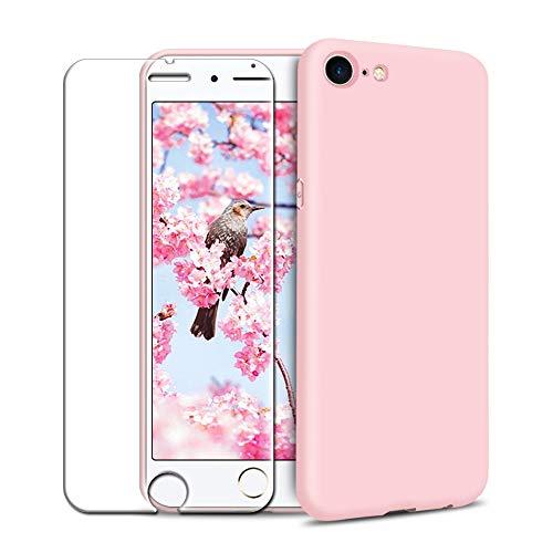 Funda iPhone 7/ iPhone 8 + Protector de Pantalla de Vidrio Templado, Carcasa Ultra Fino Suave Flexible Silicona Colores del Caramelo Protectora Caso Anti-rasguños Back Case - Rosa Claro