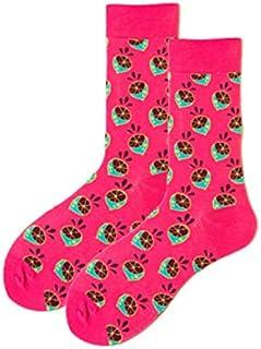 5 pares de moda de los hombres de algodón peinado calcetines de boda calcetines casuales calcetines felices patrón de fruta