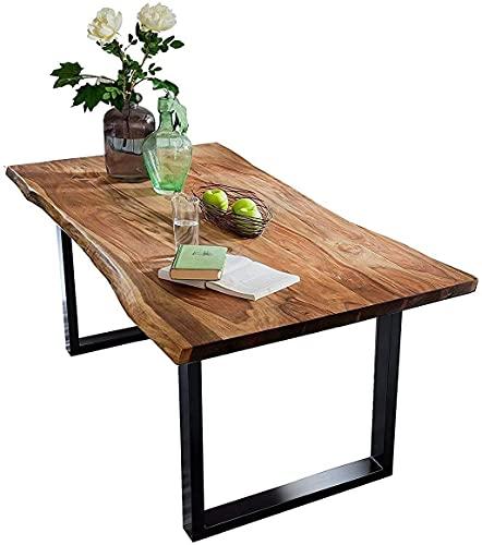 SAM Baumkantentisch 120x80 cm Quarto, Akazienholz massiv + nussbaumfarben lackiert, Esstisch mit schwarz lackiertem U-Gestell, Esszimmertisch/Holztisch im Industrial-Design, Tischplatte 26 mm