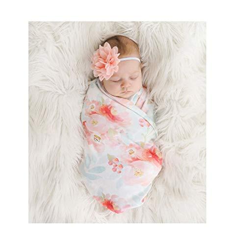 Giggle Angel Baby Receiving Blanket Swaddle Blanket Newborn Wrap Swaddle Headband Set -Bloom Flower Pattern