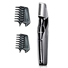 Gentle wide edge blades: Panasonic body hair trimmer for men uses wide edge, hypoallergenic trimmer blades specially designed with rounded edges for comfort and minimal irritation while grooming underarms, chest, back, legs, groin and more V shaped h...
