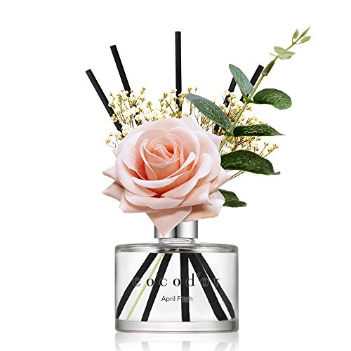 Cocod'or Rose Flower Reed Diffuser, April Breeze Reed Diffuser, Reed Diffuser Set, Home Decor \& Office Decor, Fragrance and Mother's Day, Birthday, Wedding Gifts, 6.7oz