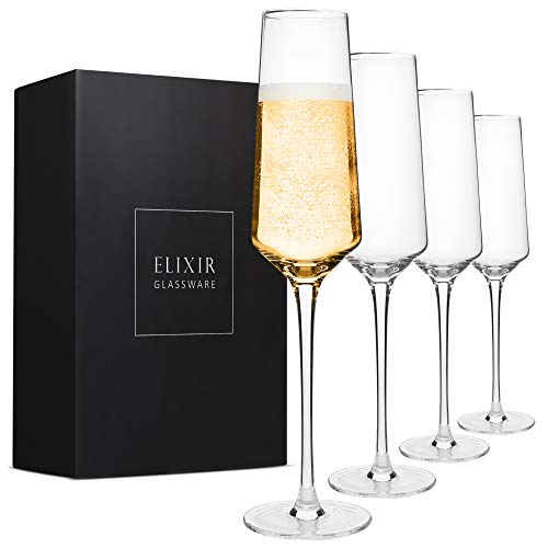 Classy Champagne Flutes - Hand Blown Crystal Champagne Glasses - Set of 4...