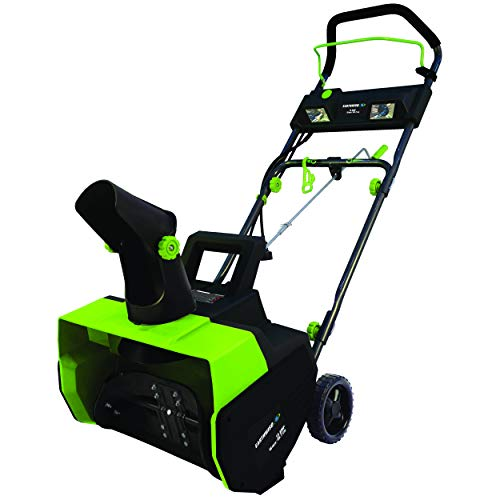 Earthwise SN72018 Electric Corded 13.5 Amp Snow Thrower, 18  Width, LED Lights, 700lbs Minute