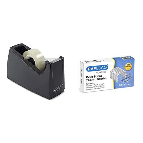 Rapesco Accesorios - Dispensador de cinta adhesiva para rollos de tamaño estandard, negro + Caja de 1000 grapas 24/6 mm'extra fuertes'