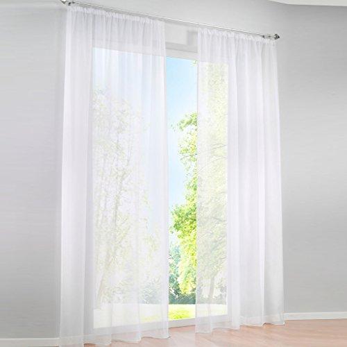 HongYa 1er-Pack Uni Gardine Transparenter Voile Schal Vorhang mit Kräuselband H/B 260/145 cm Weiß