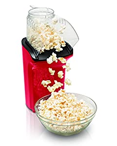 Hamilton Beach Electric Hot Air Popcorn Popper, Healthy Snack, Makes up to 18 Cups, Red (73400)