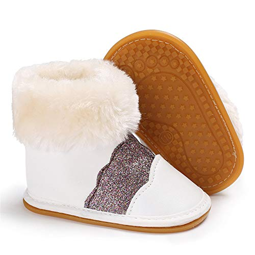 HsdsBebe Infant Baby Girls Premium Snow Boots Pu Leather Rubber Sole Anti-Slip Toddler Waterproof Outdoor First Walker Warm Winter Shoes(Sequins White,2)