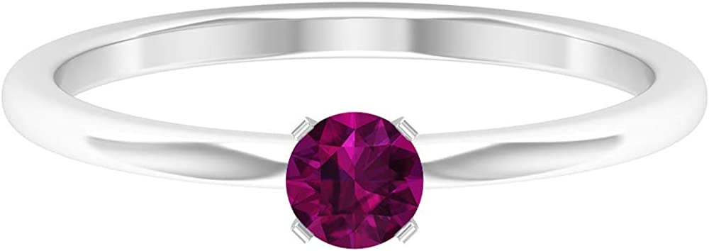 4 MM Rhodolite Solitaire Ring, 1/4 CT Round Cut Rhodolite Engagement Ring, Simple Gold Ring, 14K Gold