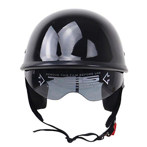 B Blesiya Visera de Sol Abatible Negra Brillante con Medio Casco para Motocicleta, Scooter, DOT - METRO