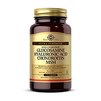 Solgar Glucosamine Hyaluronic Acid Chondroitin MSM 120 Tablets - Supports Healthy Joints - Supports Range of Motion & Flexibility - Extra Strength Shellfish Free - Non-GMO Gluten Free - 40 Servings