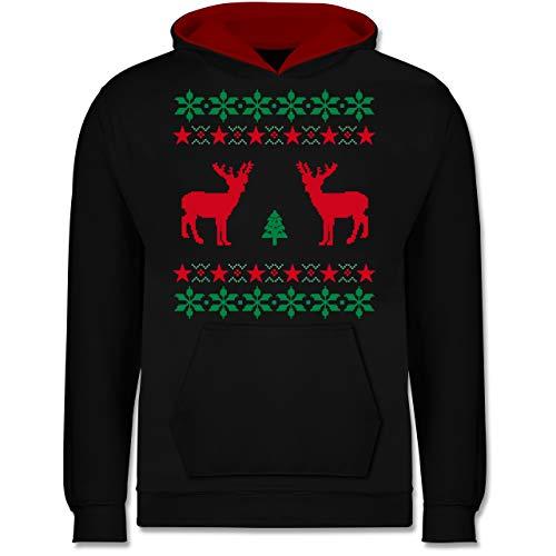 Shirtracer Weihnachten Kind - Norweger Pixel Rentier Weihnachten - 152 (12/13 Jahre) - Schwarz/Rot - Jungen Weihnachten Pullover - JH003K - Kinder Kontrast Hoodie