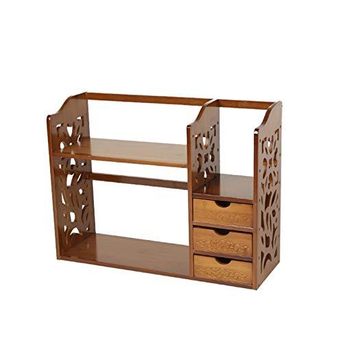 Nai-storage Cajón de Tres Capas LP Discos de Vinilo Estante de Almacenamiento Juego de tocador Soporte de exhibición Ajustable en Altura Estante de Libros de bambú (Color : B, Size : 70 * 21 * 45cm)